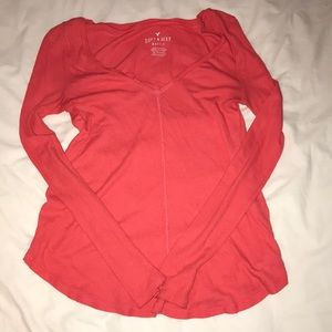 Soft and sexy coral long sleeve top